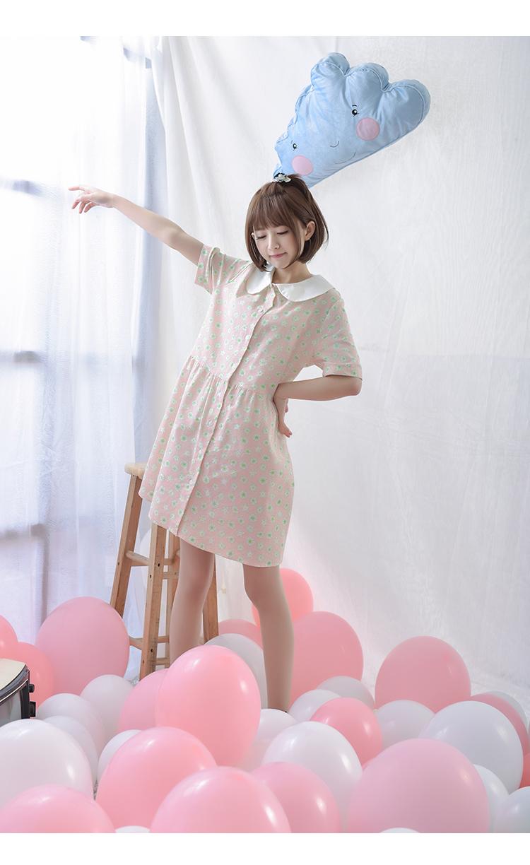 女装日系森女系可爱娃娃领卡通印花短袖连衣裙萌女