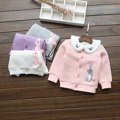 2016 autumn paragraph Korean children's clothing girls baby candy color air cotton cartoon embroidery round neck cardigan jacket shirt