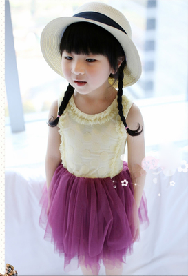 2015 summer new children's clothing girls baby dress polka dot mesh stitching skirt vest dress strap skirt