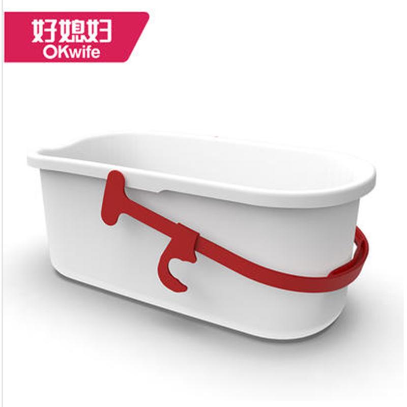 好媳妇家用长方形洗拖把桶胶棉平板拖布清洗地拖单桶加厚塑料桶身