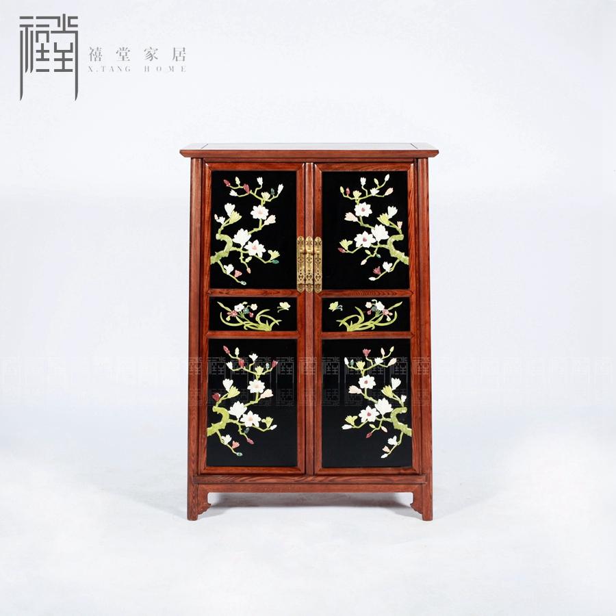 禧堂新中式古典实木嵌玉彩色手绘鞋柜