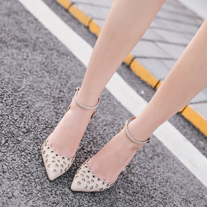 Elegant hollow rivet pointed high-heeled shoes