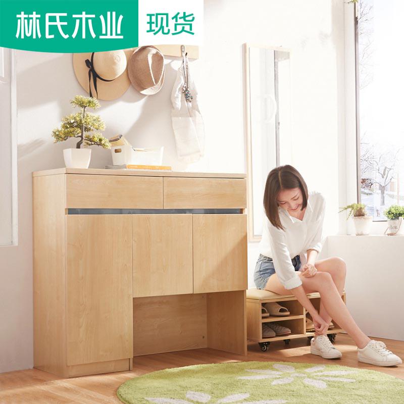 简约现代入户对开门组装多功能北欧鞋柜换鞋凳玄关门厅柜组合BR2N