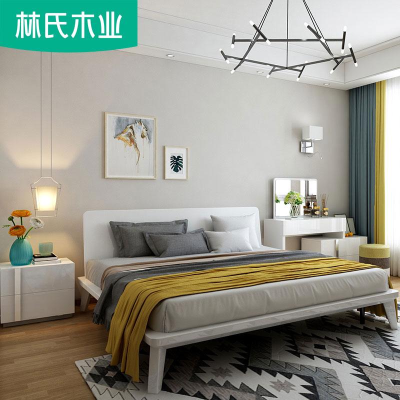 现代简约1.8米主卧室小户型实木床脚双人床次卧1.5m板式床DA1A