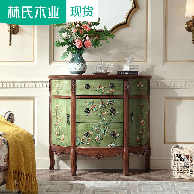 彩绘装饰美式家具半圆玄关桌靠墙实木案台桌子墙边柜储物柜LS006
