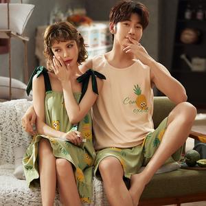 情侣睡衣夏短袖短裤睡裙男女薄款家居服套装