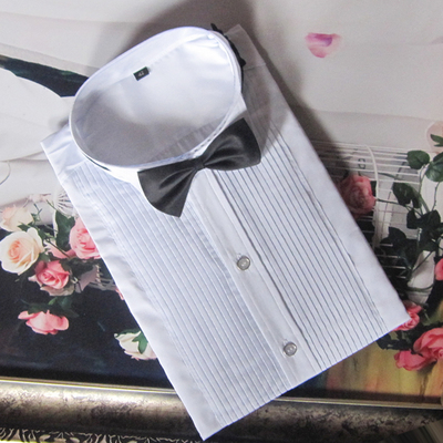 White bow tie shirt men Competition chorus performance shirt show small tip collar with bow tie shirt
