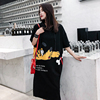 Real shot stock 2018 summer new / loose long hooded large size women's short-sleeved dress
