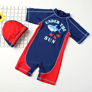 儿童泳衣男童 宝宝婴儿游泳衣中小童游泳裤连体泳装带帽防晒