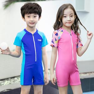 儿童泳衣男童连体平角游泳裤女童中大童宝宝防晒游泳衣男孩泳装