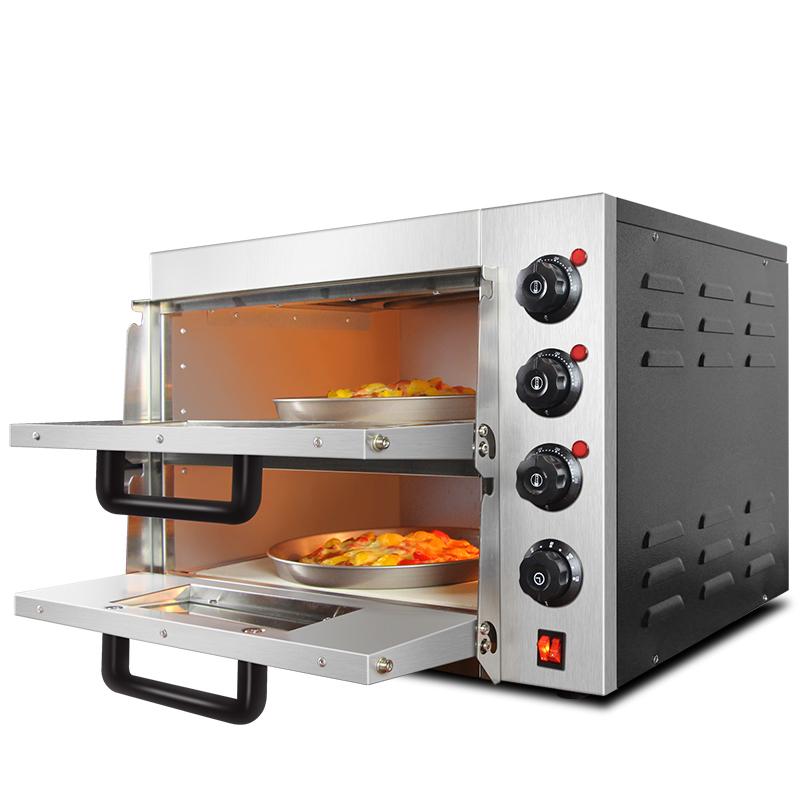 lecon-乐创 商用披萨烤箱双层烘烤炉 二层二盘烘焙蛋挞鸡翅电烤箱