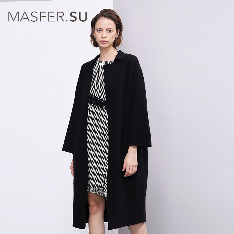Masfer.SU玛丝菲尔素春新款都会知性黑色长款针织羊毛呢大衣