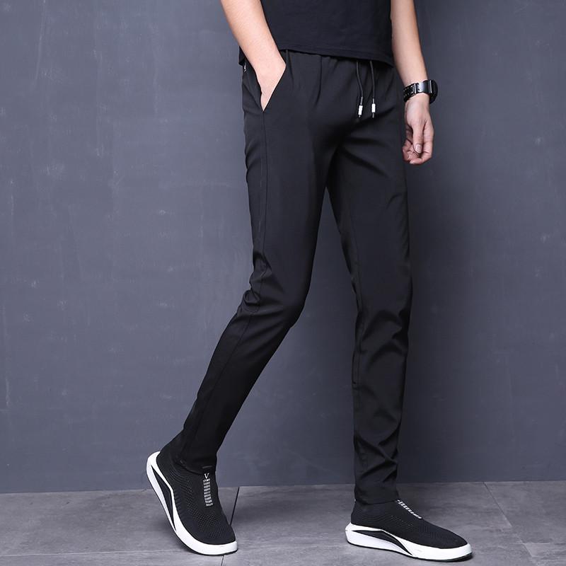 2018夏季薄款直筒运动裤男弹力男士休闲裤修身小脚裤速干透气长裤