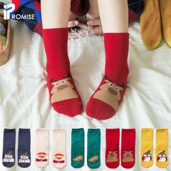 儿童袜子秋冬季纯棉中长筒男女童卡通圣诞节袜子冬天款加厚保暖袜价格比较