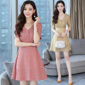 实拍 红色格子V领连衣裙女夏季小清新韩版高腰显瘦复古裙