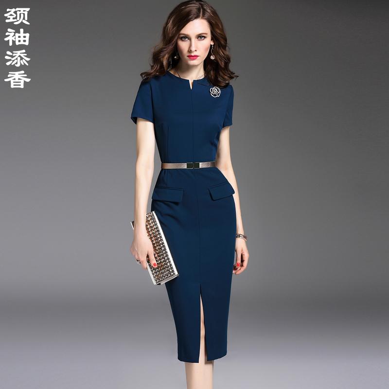 颈袖添香2018夏装新款修身显瘦OL气质职业装包臀短袖连衣裙女裙子