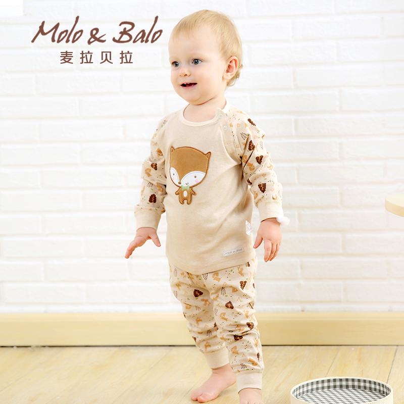 婴儿内衣套装春秋纯棉男女宝宝彩棉内衣卡通服肩开套装产品展示图2