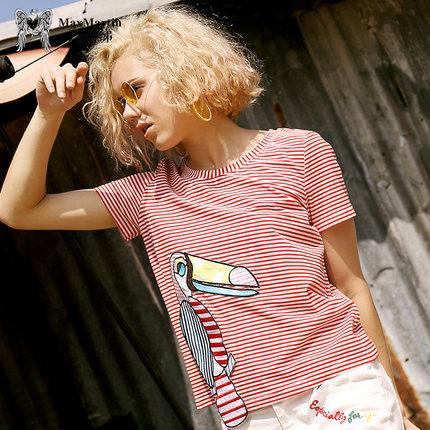 玛玛绨2017夏装新款圆领时尚个性刺绣贴布条纹t恤女百搭
