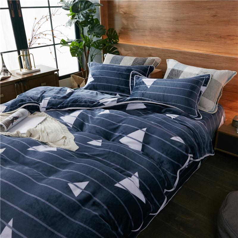 冬季金貂绒四件套珊瑚绒双面加厚加绒床上用品牛奶法兰绒被套床单