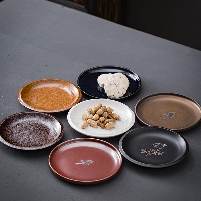 日式粗陶淺盤窯變復古碟子家用陶瓷圓形蛋糕盤零食點心托盤甜點盤