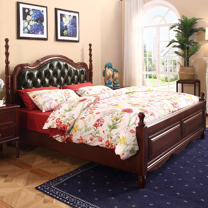 床主卧美式乡村实木床高箱储物卧室家具1.8米1.5m现代简约双人床