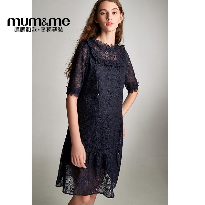 mumme夏季孕妇装潮妈圆领哺乳连衣裙欧式时尚五分袖孕妇职业装