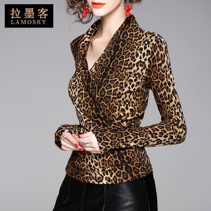 欧美气质女装长袖低领豹纹上衣小众百搭时尚修身打底衫2018秋新款