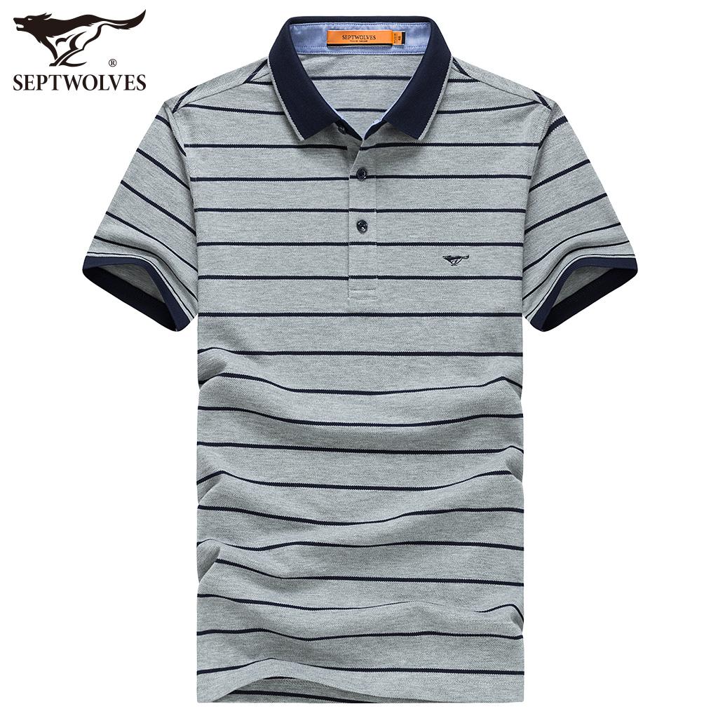 七匹狼短袖棉T恤男 中青年男士商务翻休闲领条纹POLO衫 夏季新款