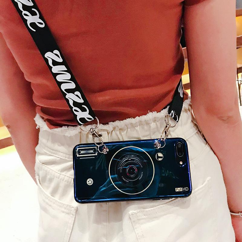 复古蓝白相机苹果7plus手机壳机8plus硅胶软壳抖音网红同款气囊支架iPhonex防摔潮情侣男女款6s背带挂绳创意