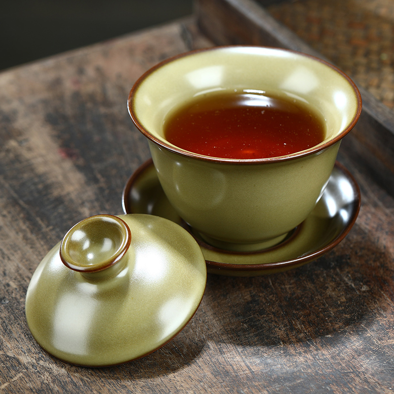 Dipping glaze tureen tea cup three only a single bowl of kung fu tea set embryo glaze ceramic tea bowl iron hand grasp medium bowl of tea
