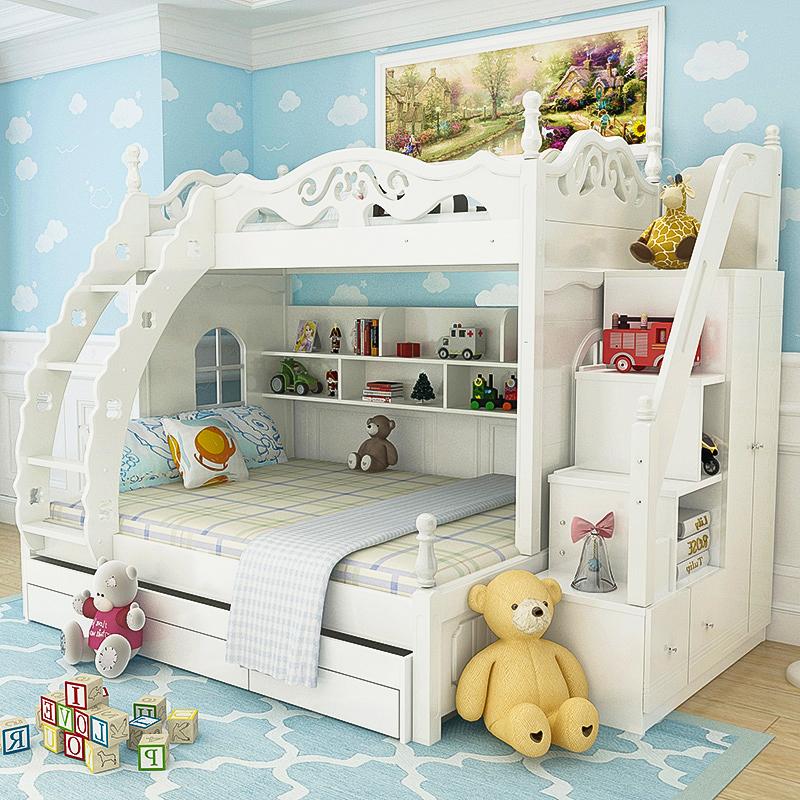 顶冠家具 儿童床女男孩实木衣柜床上下床高低床双层床子母床103