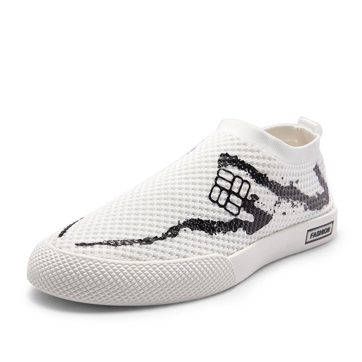维界男士网面鞋夏新款透气飞织布鞋时尚韩版运动休闲个性潮流板鞋