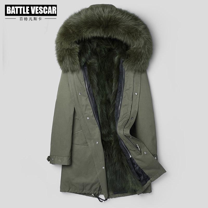 海宁男士中长款貉子毛派克服皮草内胆真皮皮衣皮毛一体夹克大衣