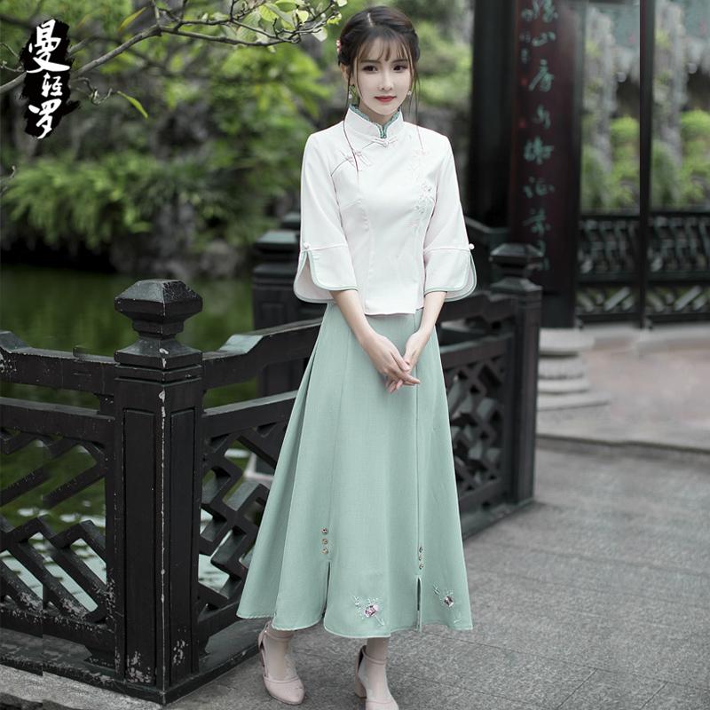 曼轻罗2017新品女装复古文艺绣花高腰大摆中长半身裙