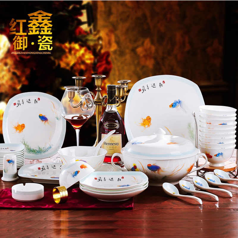 Red xin jingdezhen porcelain tableware suite 58 Chinese head ipads porcelain tableware ceramics dishes suit