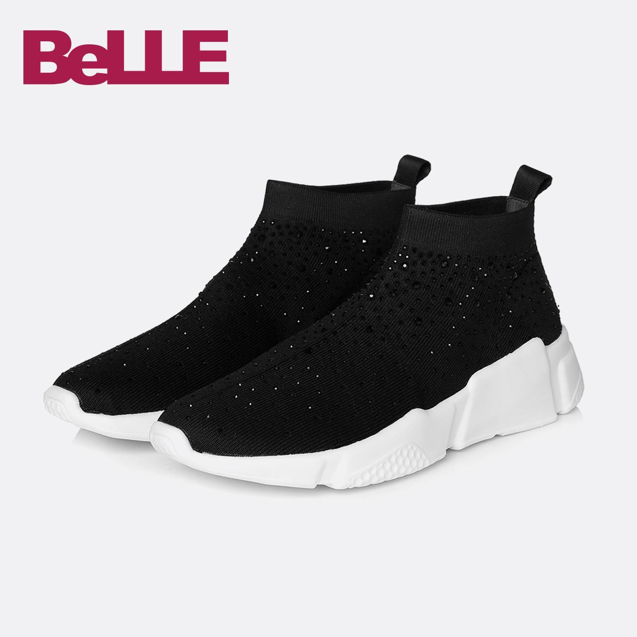 百丽2018春新款款休闲鞋商场同款运动风女鞋袜子鞋BYW29AM8