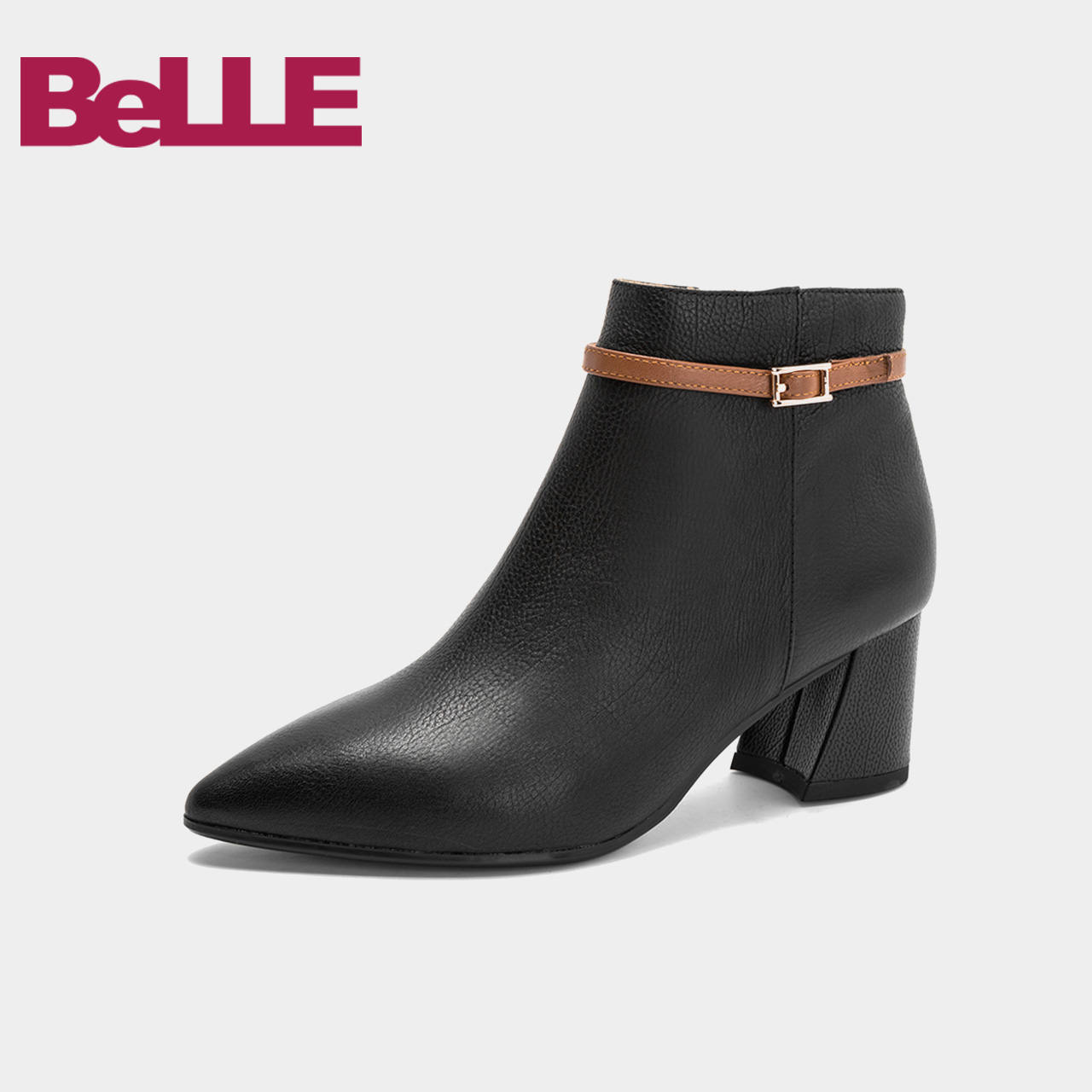 Belle-百丽2018冬商场新款小牛皮尖头女及踝靴短靴BYN45DD8
