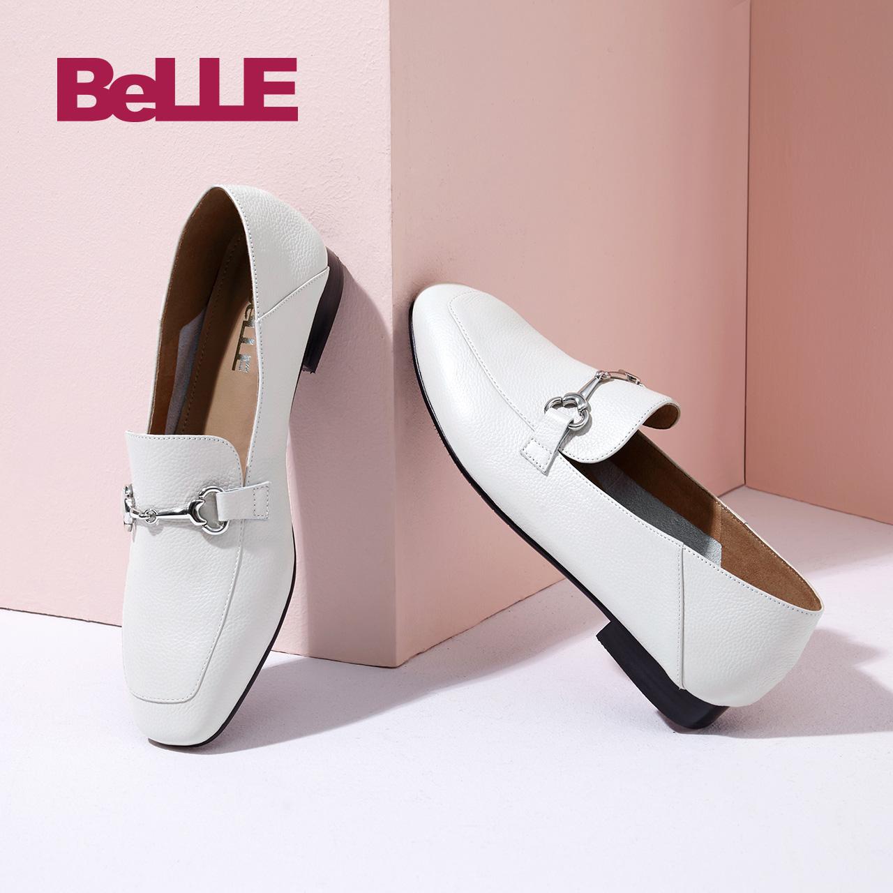 百丽乐福鞋2018秋商场同款小牛皮英伦风女皮单鞋BLNJ1CM8