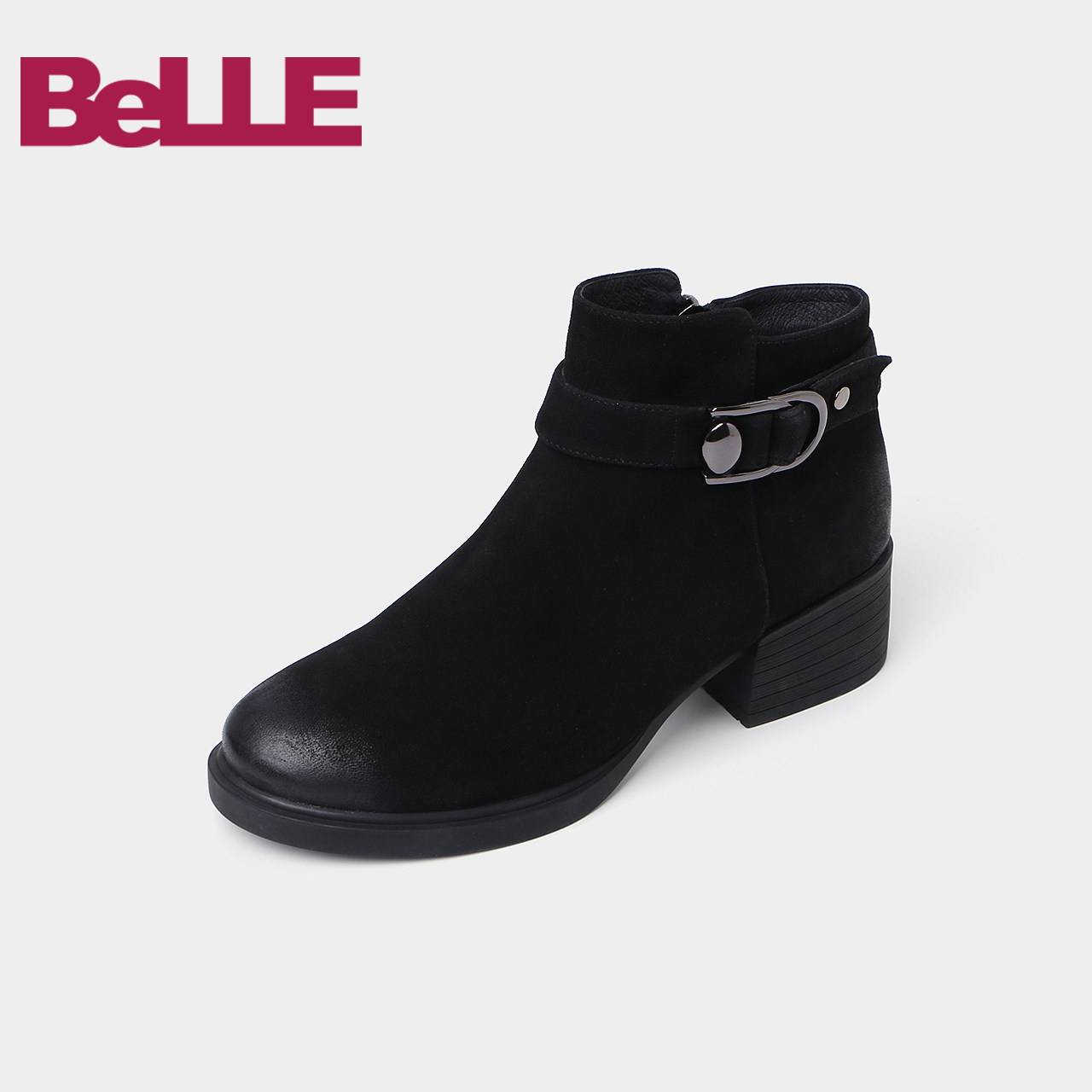 Belle-百丽2018冬专柜新羊皮粗跟女短靴(单-绒里)BE640DD8
