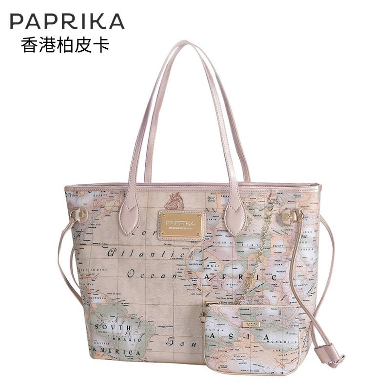 香港paprika地图印花包女大包奢华单肩包品牌手提包个性时尚夏天