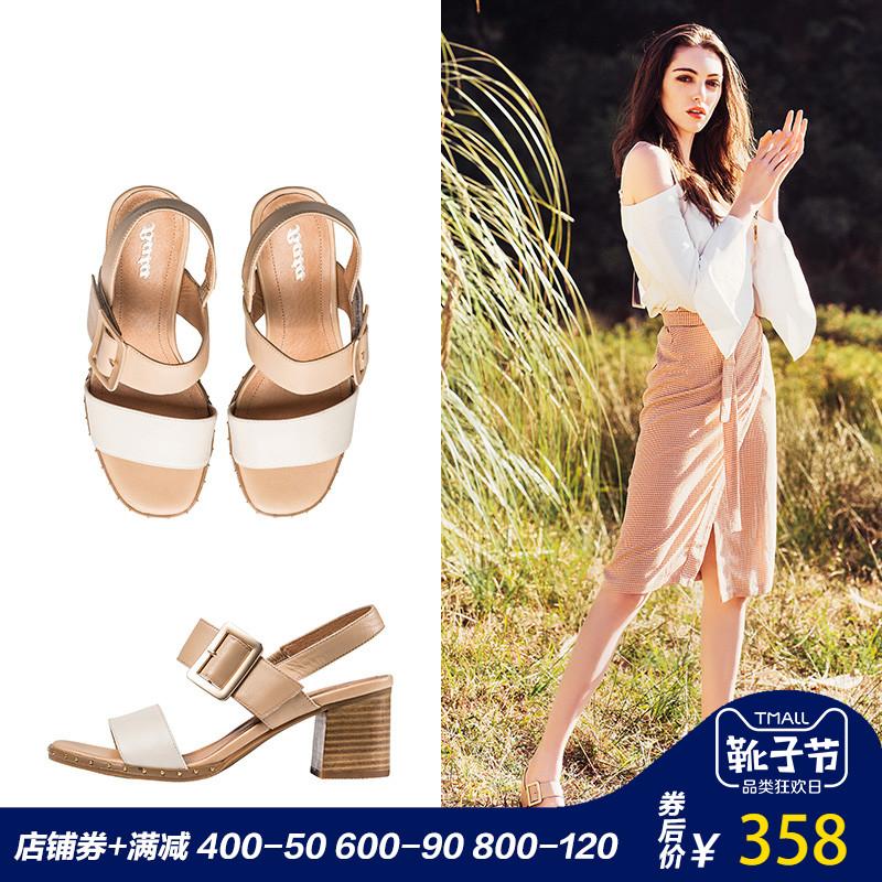Bata-拔佳凉鞋2018夏新款专柜同款拼色粗高跟牛皮革女凉鞋4020BL8