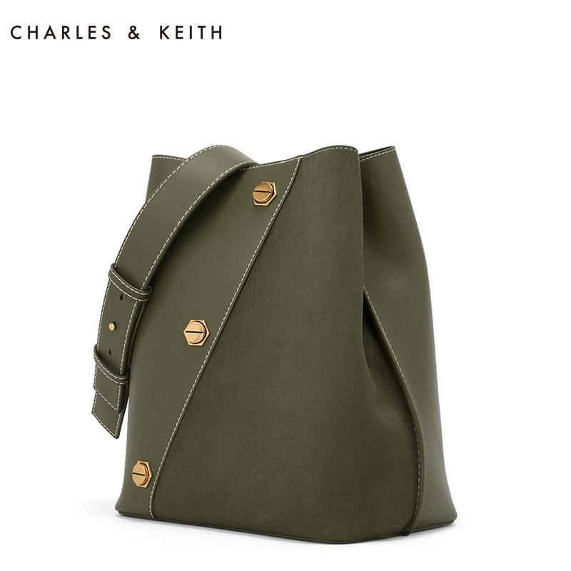 CHARLES&KEITH 新月包 CK2-40270171欧美大容量铆钉女士单肩包