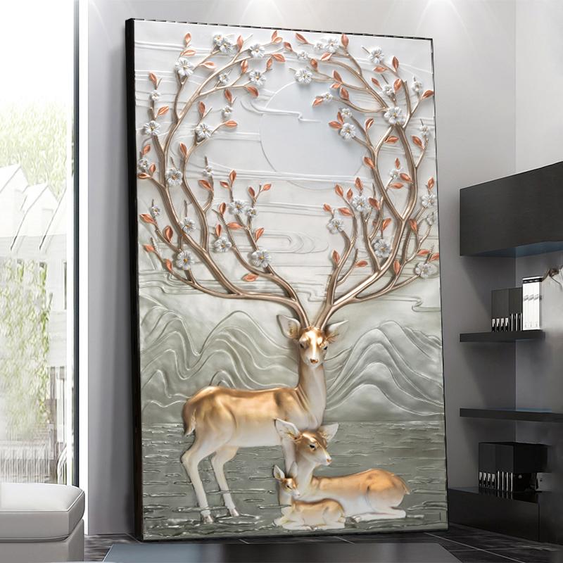 竖版玄关装饰画客厅过道壁画立体浮雕画冷水瓷走廊挂画高档发财鹿