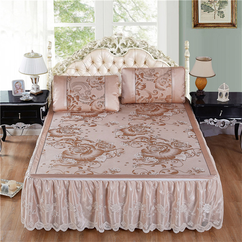 夏季冰丝凉席三件套1.5m1.8m床裙式床罩冰丝席子空调席子折叠防滑