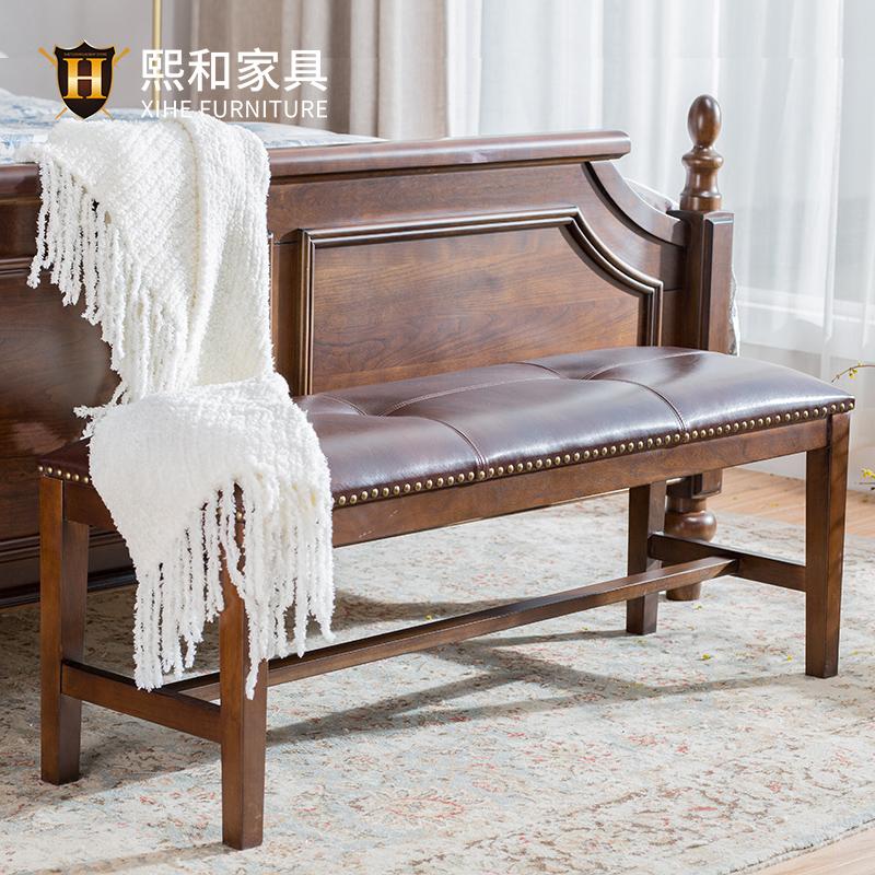 美式床尾凳实木条凳沙发凳简约换鞋凳钢琴凳长凳子脚踏熙和家具