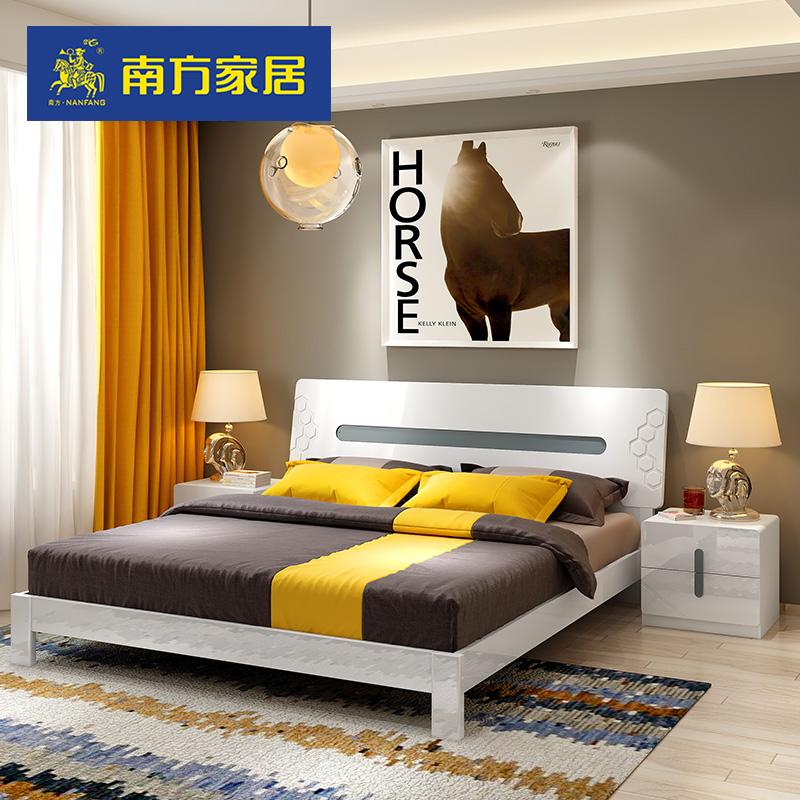 南方家私 现代简约双人床亮光板式高箱床1.5米1.8米主卧床储物床