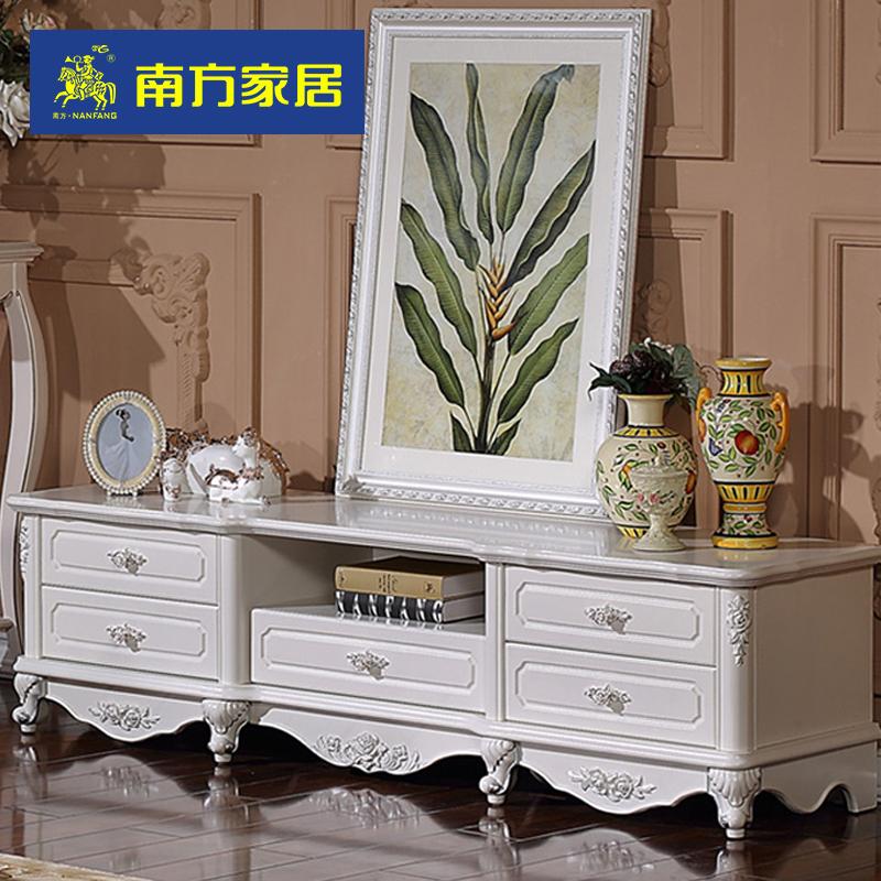 南方家私 欧式电视柜客厅矮柜储物地柜简约法式雕花描银家具