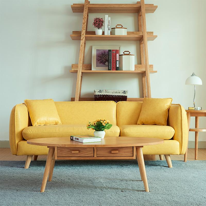 日式小户型单人双人三人组合皮沙发北欧简约客厅办公时尚皮艺沙发