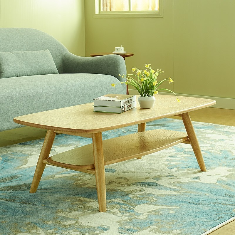 日式实木小户型双层茶几沙发北欧简易客厅会客原木胡桃色茶几茶桌