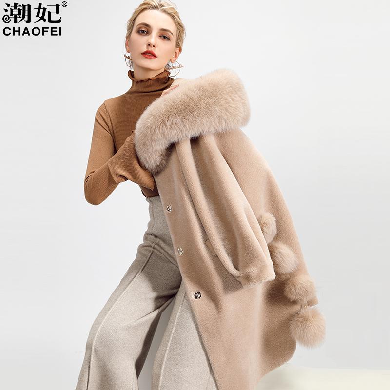 羊剪绒大衣女 海宁皮草外套女2018新款冬中长款羊毛皮毛一体反季